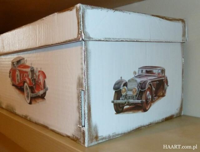 pudełka na zabawki decoupage diy motyw samochodu