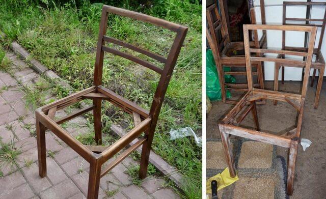 jak odnowić stare krzesła, przecieranie papierem ściernym