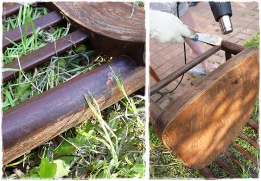 oczyszczanie i opalanie starego krzesła