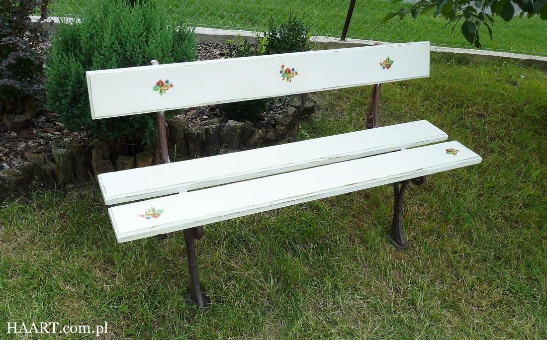 Ławka na ludowo - renowacja starej ławki z motywami ludowymi DIY
