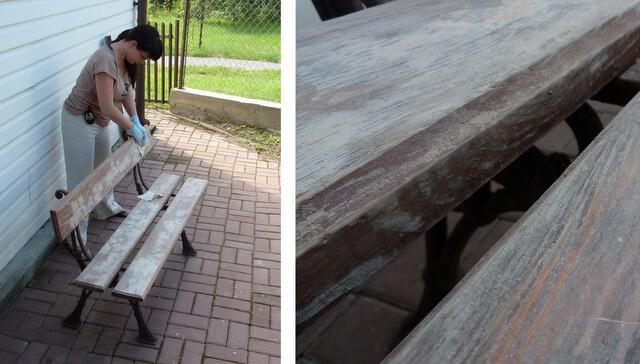 malowanie i odnawianie ogrodowej ławki z oparciem diy