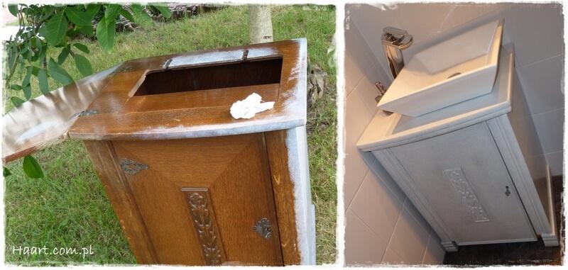 maszyna do szycia, malowanie i lakierowanie starej szafki