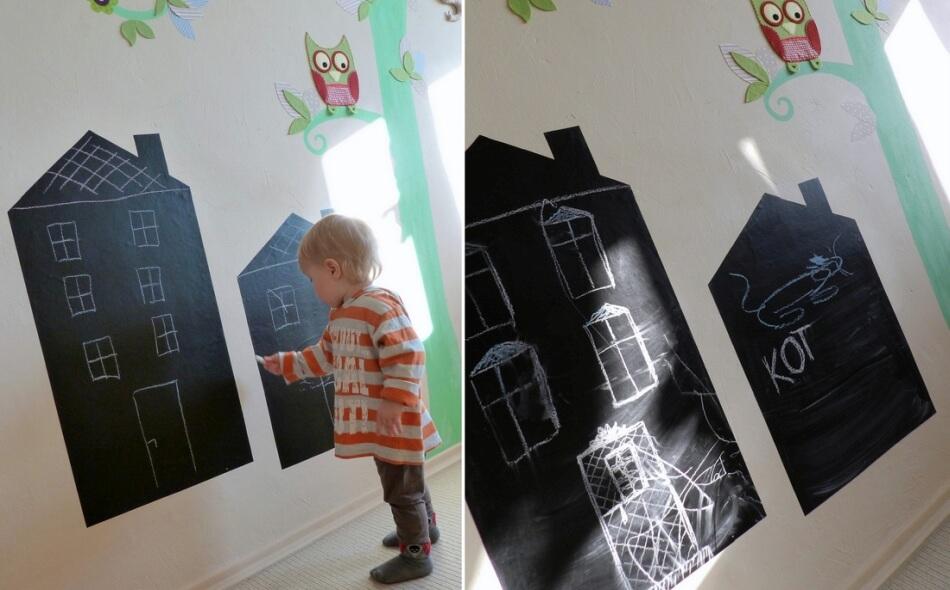 naklejki tablicowe diy na ścianę w pokoju dziecka
