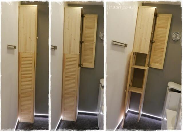 szafka łazienkowa, budowanie, ażurowe drzwiczki