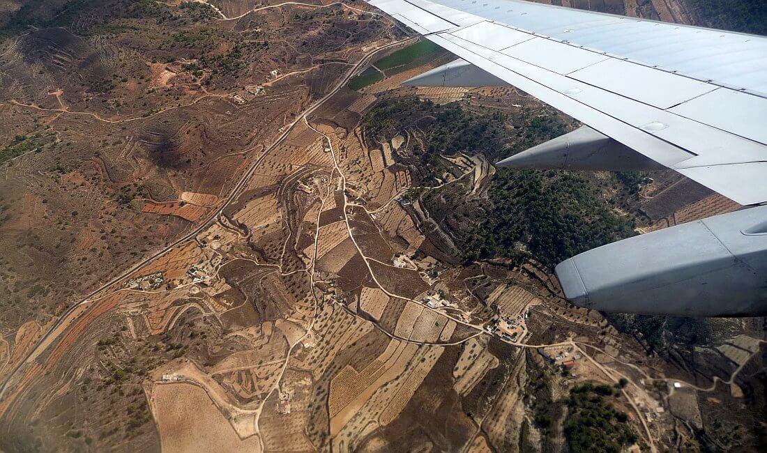 malaga i andaluzja z okna samolotu
