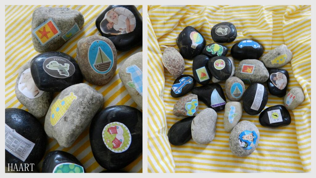 kamienie z naklejkami, zabawki dla dziecka