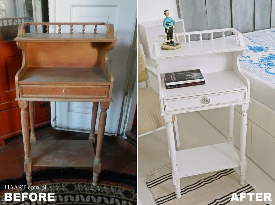 renowacja mebli diy, stary stolik pomalowany na biało