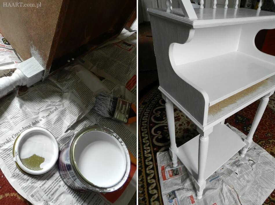 stolik shabby chic, malowanie na biało