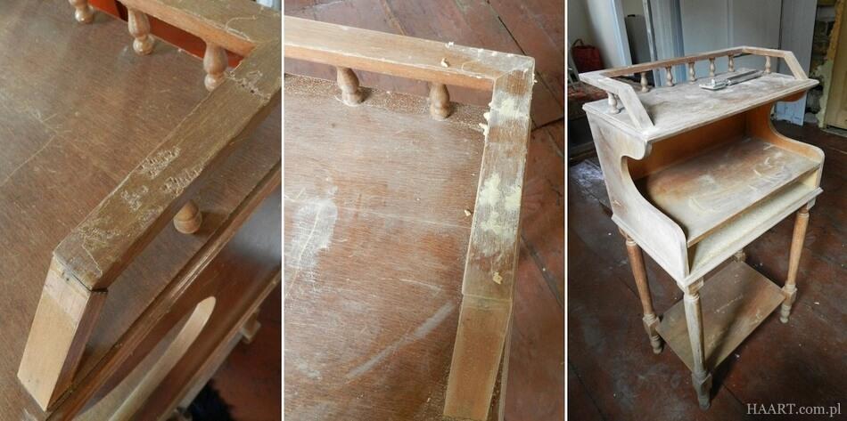 szpachlowanie i naprawa starego stolika, uzupełnianie ubytków w drewnie