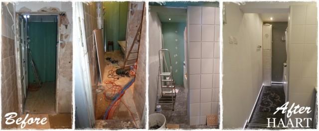 remont łazienki, korytarz przed, w trakcie i po remoncie