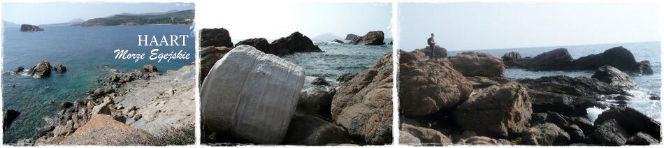 fragmenty kolumn ze świątyni posejdona na nadmorskich skałach, ateny, grecja
