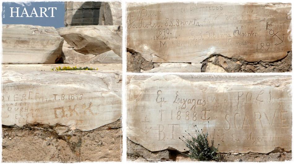 przylądek sunion, napisy na skałach, świątynia posejdona