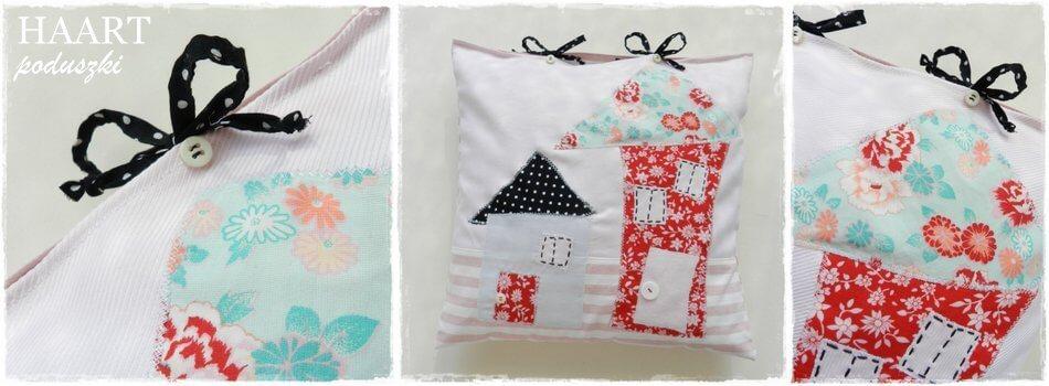 poduszki ręcznie haftowane z motywem domku