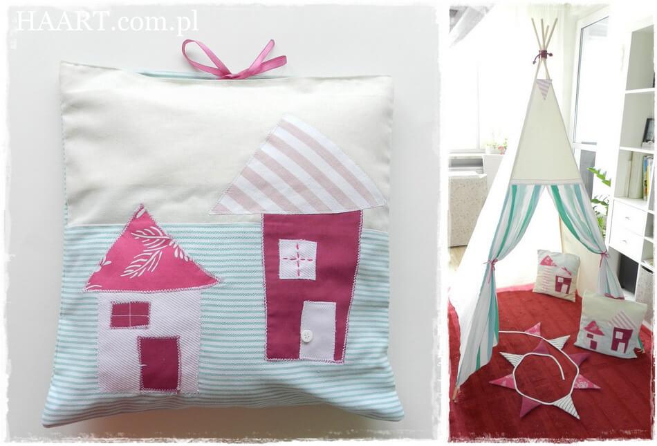 miętowe tipi dla dziecka do zabawy, poduszki ręcznie szyte