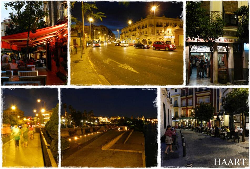sewilla miasto nocą, zabawa, bary i restauracje