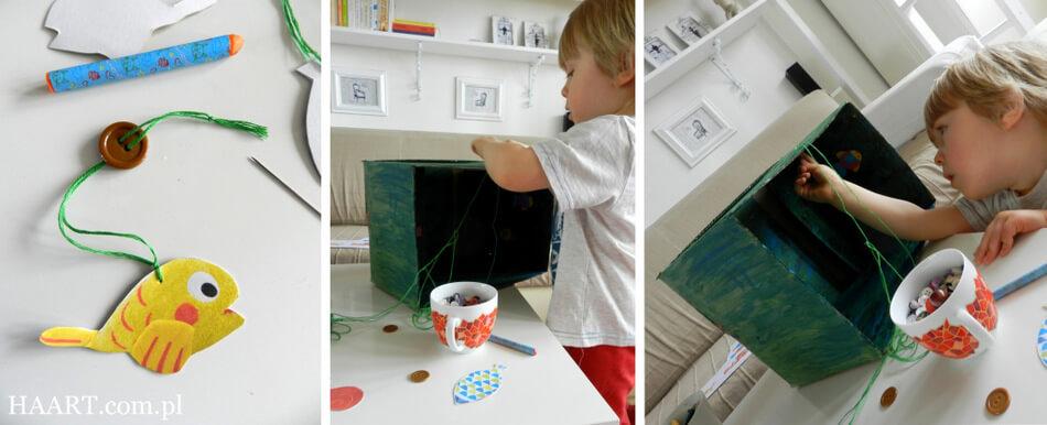malowanie pudełka tekturowego z rybkami, zabawka dla dziecka