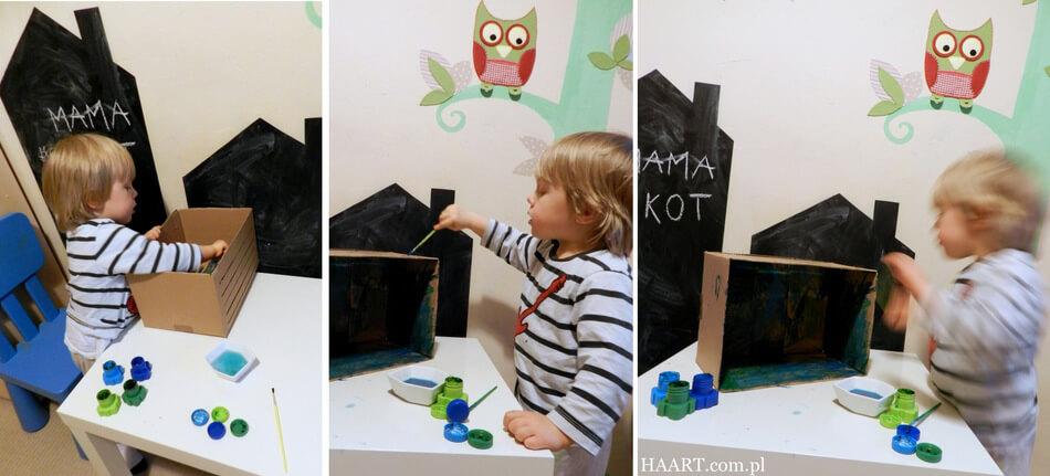 zabawka z tektury, malowanie z dzieckiem diy