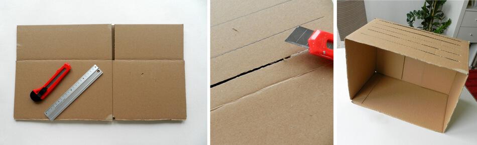 wycinanie z pudełka tekturowego kształtu akwarium do zabawy z dzieckiem