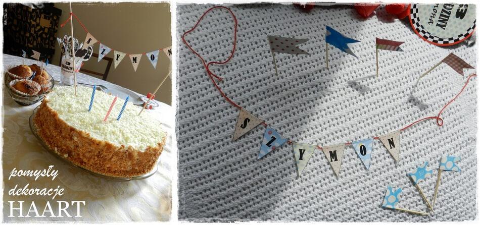 urodziny trzylatka, dekoracja tortu girlanda diy
