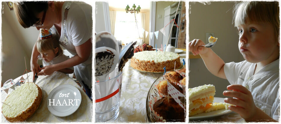 urodziny trzylatka, przyjęcie z tortem