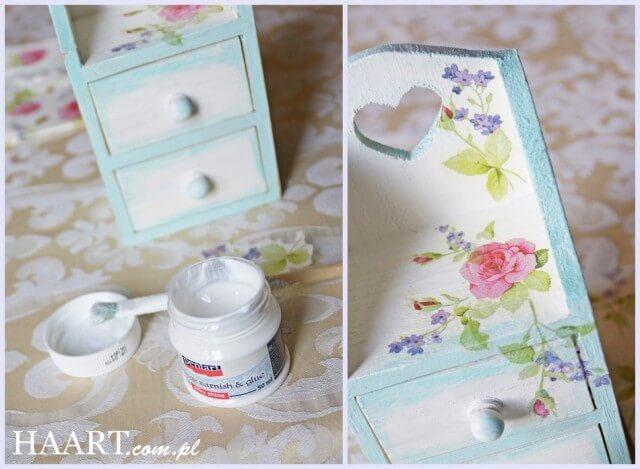 szafeczka decoupage, wzór kwiatowy na drewnianym pudełku na biżuterię