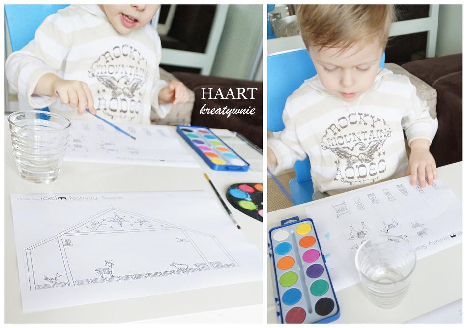 malowanie z dzieckiem szopki na boże narodzenie, zabawa i nauka