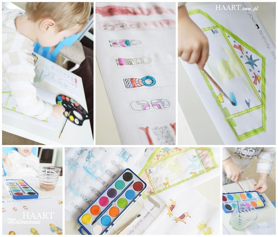 wspólna zabawa z dzieckiem, malowanie szopki na boże narodzenie
