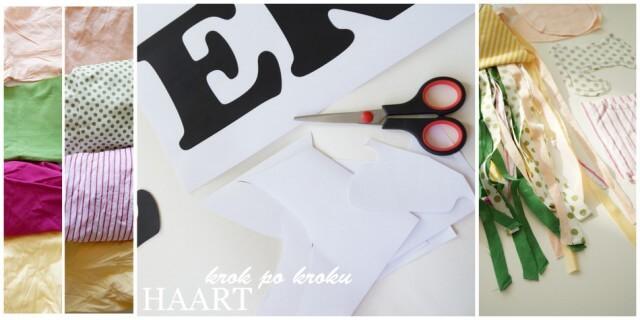 materiały potrzebne do wykonania ozdób w dziecięcym pokoju, materiał, szablony i nożyczki