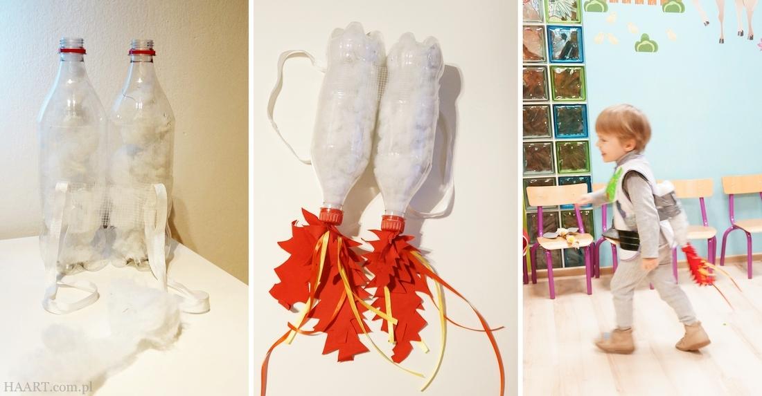 Rakiety z plastikowych butelek DIY - strój karnawałowy dla dzieci