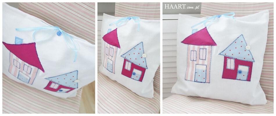 domki motyw na poduszkach dziecięcych diy