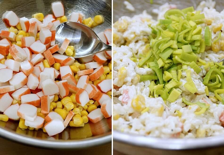paluszki krabowe, składniki sałatki
