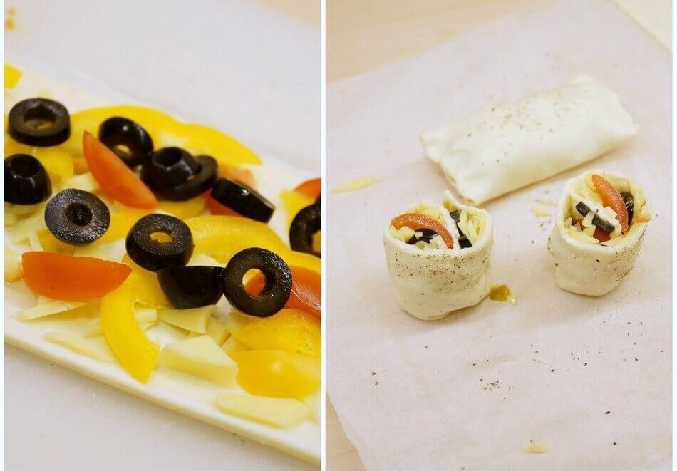 przekąski z ciasta francuskiego z oliwkami, przepis