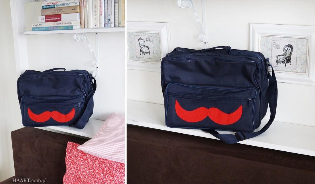 diy torba podróżna z wąsami, przybornik dla dziecka, bagaż podręczny, walizka, filcowe wąsy, odnawianie, instrukcja krok po kroku, samodzielnie, jak zrobić - haart.pl blog diy zrób to sam