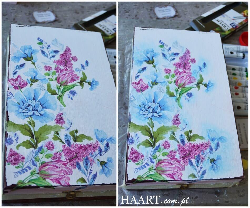 serwetka w kwiaty przyklejona metodą decoupage do drewnianej skrzynki