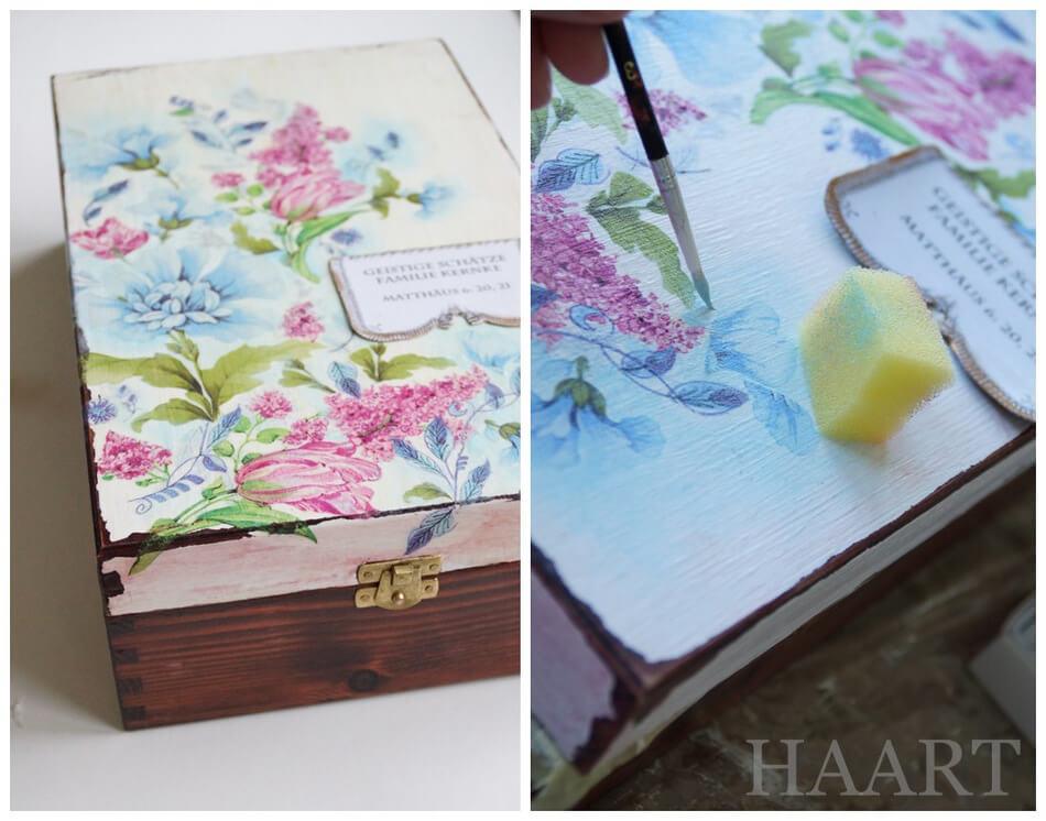 ręcznie malowana skrzynia decoupage z wzorem kwiatów