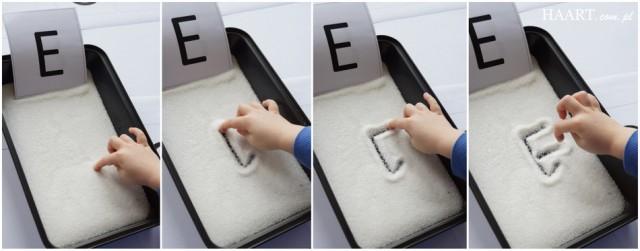 tablica do nauki literek dla dzieci diy, pisanie w piasku, mące lub cukrze