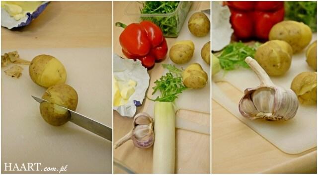 pieczone ziemniaki z warzywami, przygotowanie potrawy