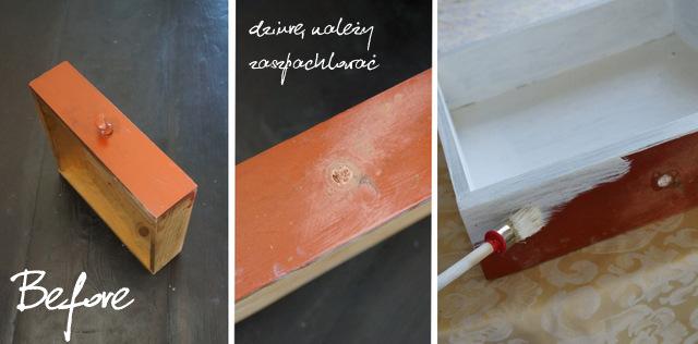 stara szuflada, metamorfoza, zmiana, jak zrobić, instrukcja krok po kroku, shabby chic, przecieranie, papier ścierny, malowanie - haart.pl blog diy zrób to sam 2