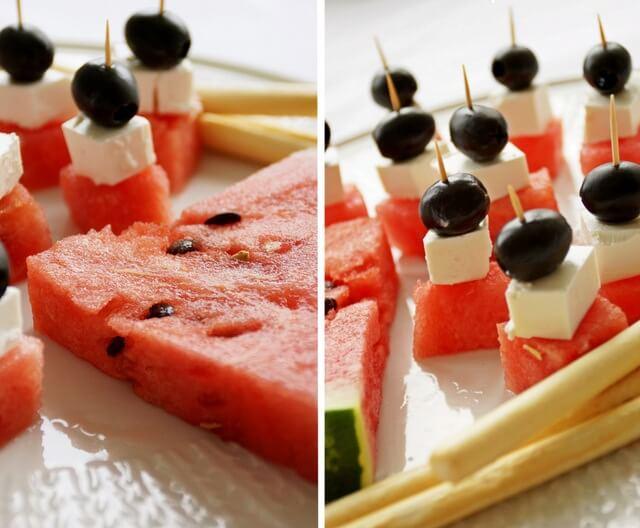 przekąski z arbuza na letnie przyjęcia, koreczki z fetą i oliwkami