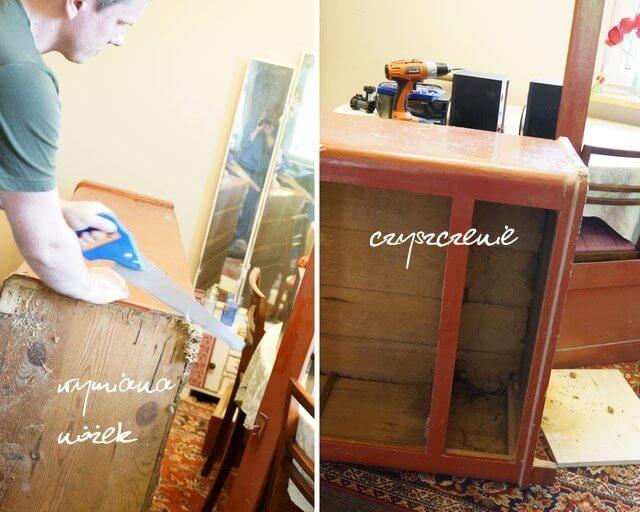 renowacja starego mebla, czyszczenie i wymiana nóżek