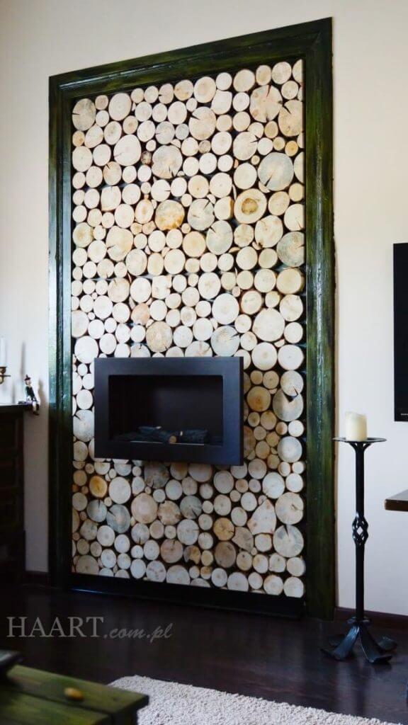 naturalne słoje drewna brzoza tło biokominka