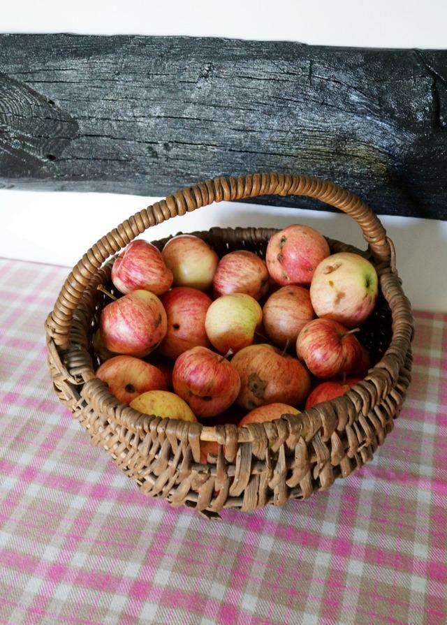 stary drewniany dom, #jedzjablka, jabłka w koszu wiklinowym, siedzisko - haart.pl blog diy zrób to sam 2