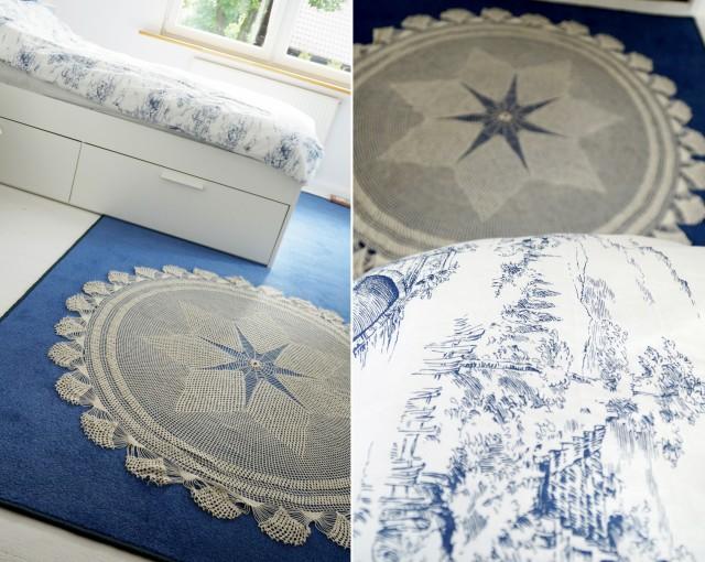 nadruk na dywanie, jak zrobić, pomysły, niebieska wykładzina, obrus, koronka - haart.pl blog diy zrób to sam 2