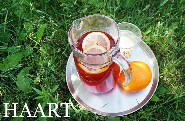 stary drewniany dom, trawa, dzbanek z herbatą i cytryną, taca - haart.pl blog diy zrób to sam 19