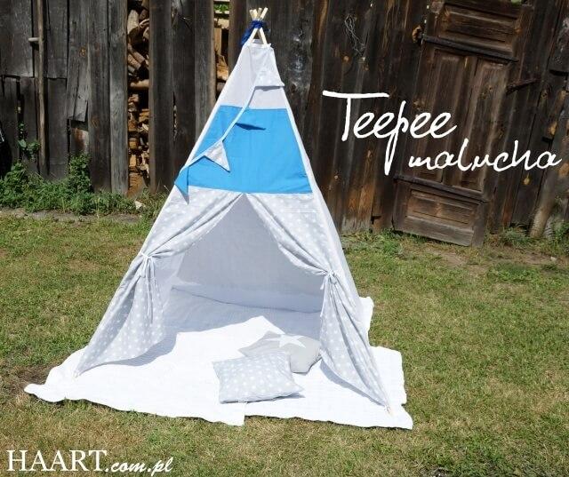 tepee z gwiazdami, dziecięcy namiot tipi do zabawy, w ogrodzie