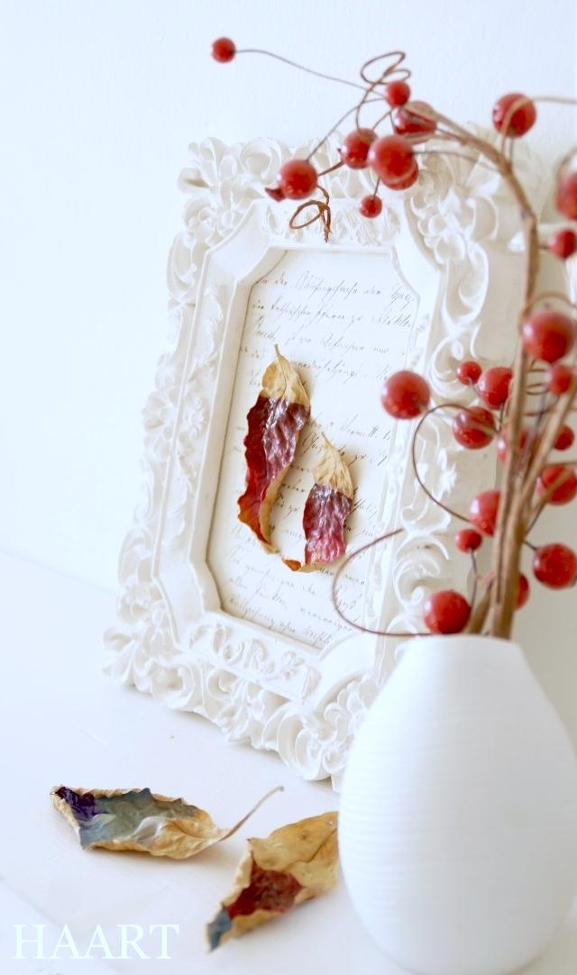 malowanie liści, liście, rama postarzana, dekoracja - haart.pl blog diy zrób to sam 7