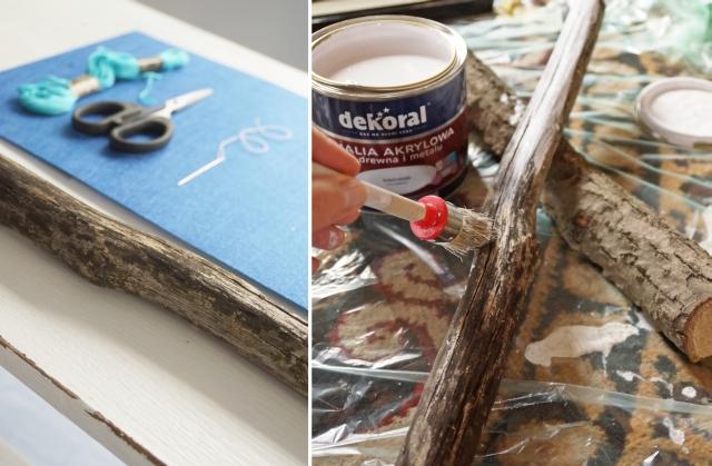 deszczowa girlanda, instrukcja krok po kroku, poradnik, jak zrobić, patyk, filc, sznurek, malowanie dekoral farba akrylowa - haart.pl blog diy zrób to sam 3