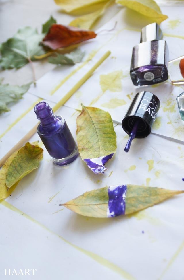 malowanie liści, liście, lakier do paznokci, papier - haart.pl blog diy zrób to sam 1
