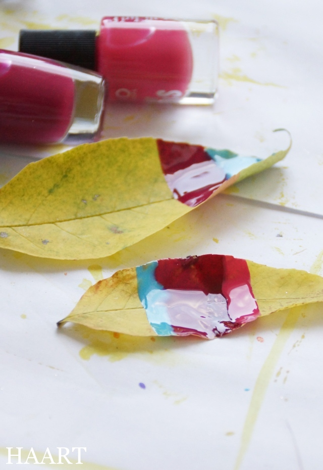 malowanie liści, liście, lakier do paznokci, papier - haart.pl blog diy zrób to sam 4