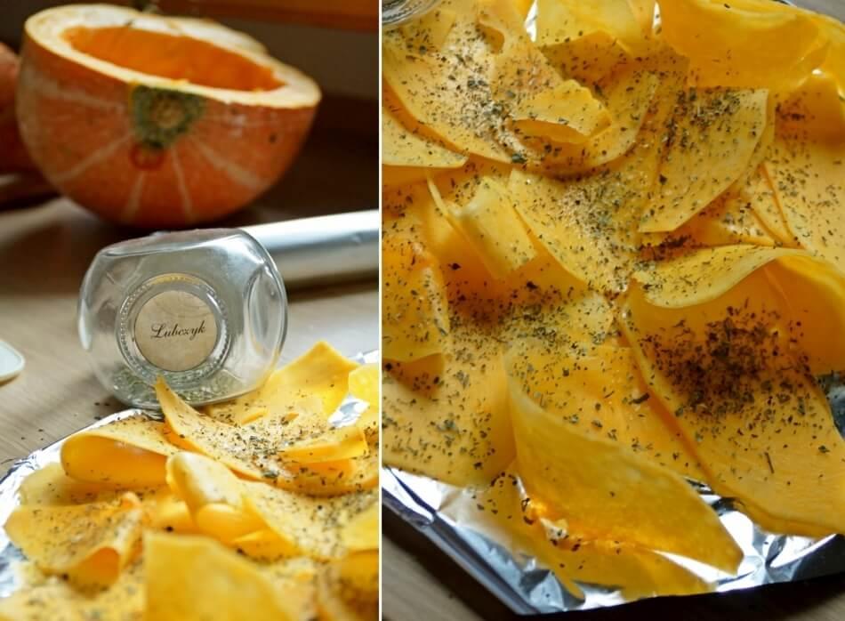 chipsy z dyni przyprawione lubczykiem, przekąska wegetariańska, przepis diy